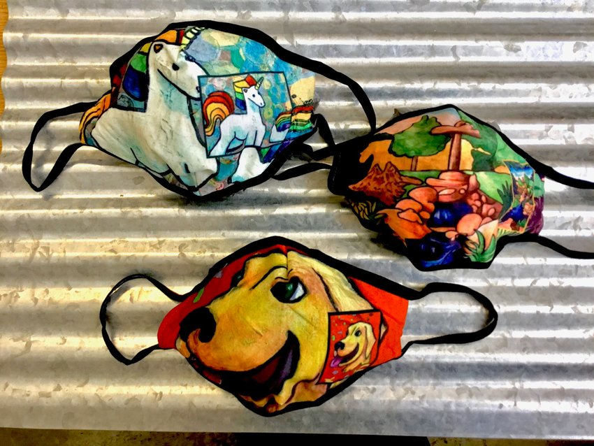 These colorful, unique face masks designed by ASI Inc. clients are on sale at Tri-County Bank & Trust locations in Crawfordsville.