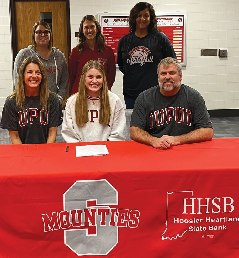 Sidney Veatch will continue her volleyball career at IUPUI. The Southmont senior is joined by her parents, Jenny and Tim Veatch, and Southmont coaches Erin Berry, Lauran Nichols, and Casey Harvey.