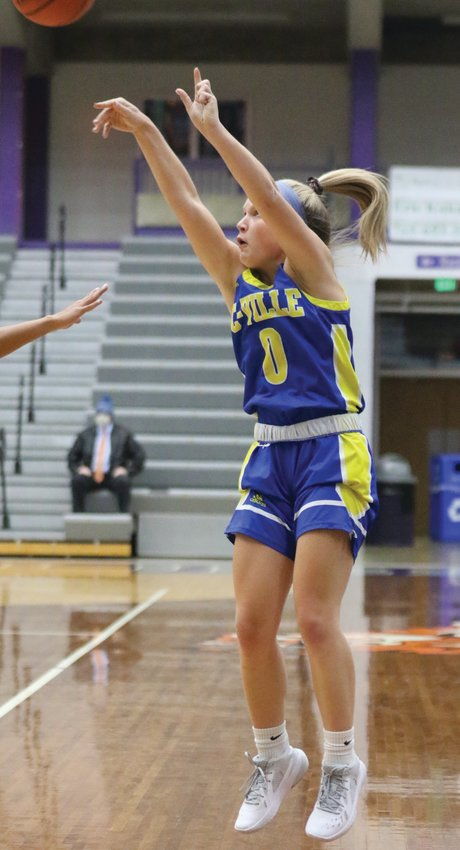 Crawfordsville's Olivia Reed fires a three in a game earlier this season. The junior led the Athenians on Thursday with 16 points in a win over Riverton Parke.