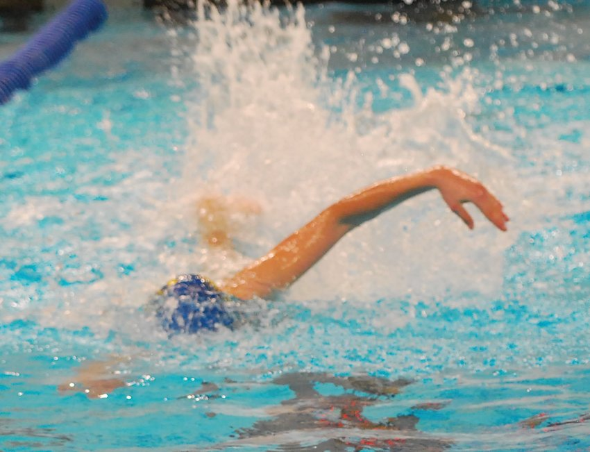 Crawfordsville's Whitman Horton swims at a meet earlier this season.