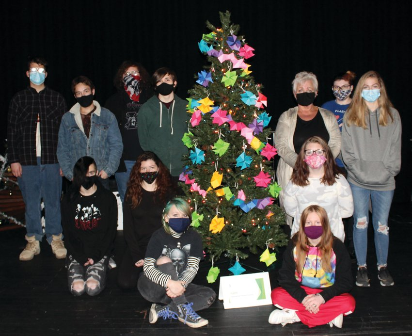 The Parke Heritage High School National Art Honor Society sponsored their first ever Christmas Tree Festival. Clubs and sports teams designed, created and decorated their own Christmas trees. The student body voted for their favorite tree. Tree awards are People's Choice and Most Creative - FFA, Most Colorful - PHHS Dance Team,Best Sports Theme - National Honor Society, Most Christmas Themed - JAG, Cheapest Decorations - National Art Honor Society and Smallest Tree - PHHS Student Council.Members of the National Art Society with their tree are front row, Evelee Rutter, Madison Fransted; second row, Collen Ricketts, Salena Drummond and Aleah Haworth; third row, Carson Griswold, Brayden Freeman, advisor Ms. Leitha Stone and Olivia Branam; and back row, Michael Crowder, Nathan Overton and Lorelei Osterhoudt. Not pictured are Michaela Troutman, Bailey Jeffers and Braiden Malicoat.