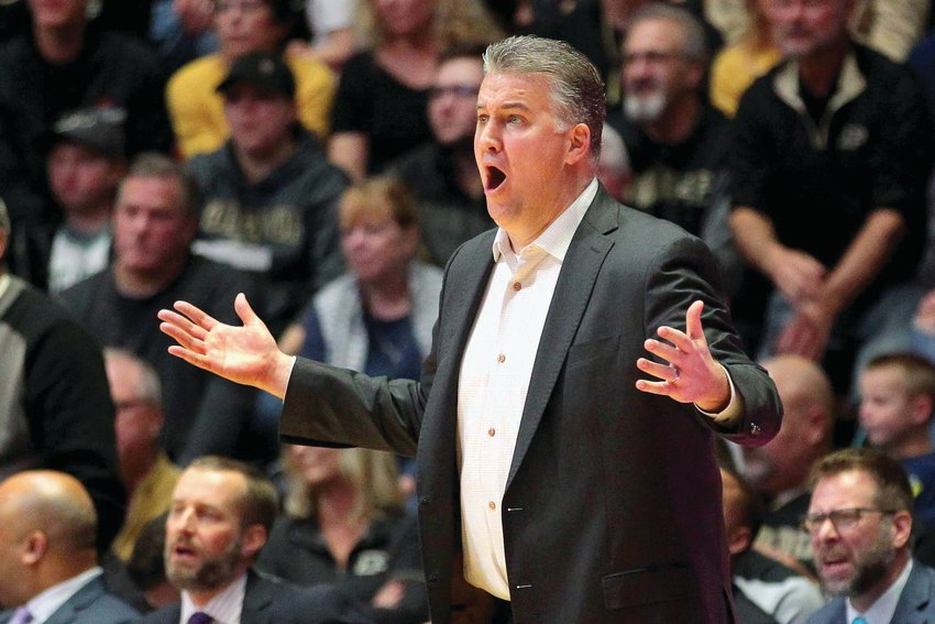 Head coach Matt Painter of Purdue objects to a call in the first half of a game last season against Minnesota. ....