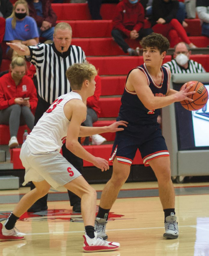 North Montgomery's Logan Kelly looks to make a move against Southmont's Cale Hess in a game earlier this season.
