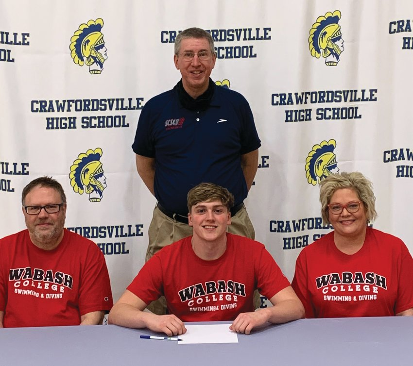 Crawfordsville senior Jack Pendleton will continue his swimming career at Wabash College. PICTURED: Jack Pendleton and parents Mike and JeneAnne Pendleton with Crawfordsville swim coach Kevin Hedrick.