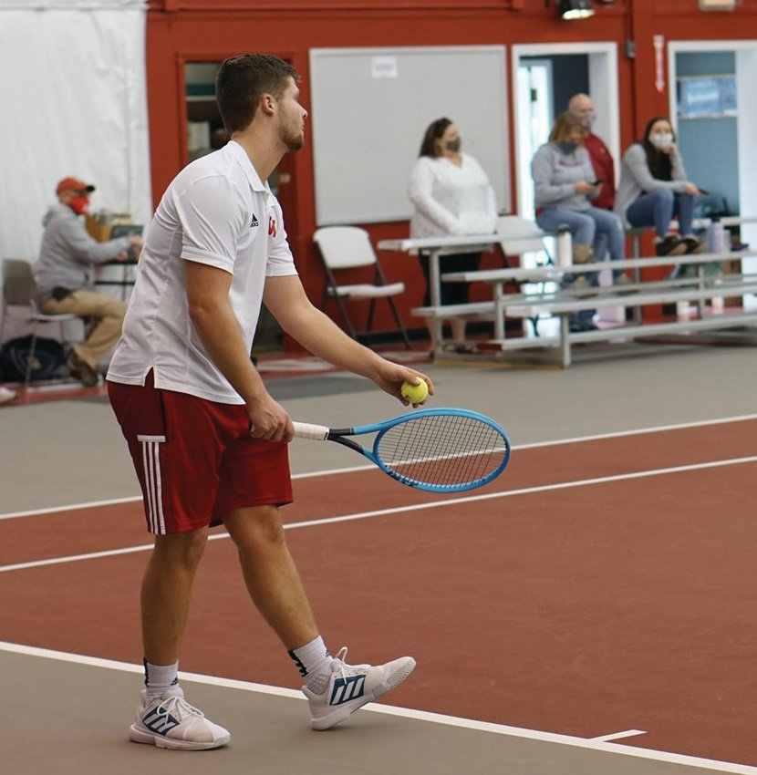 Wabash College freshman and former Southmont Mountie Reese Long prepares a serve in a match for the Little Giants earlier this season.