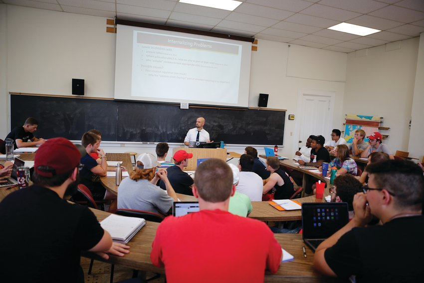 Associate Professor of Psychology leads a class in Wabash College