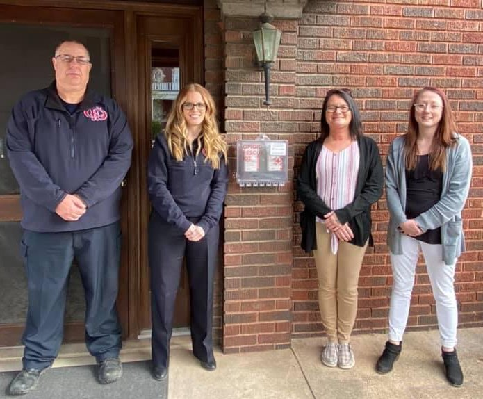The Community Paramedicine Program and InWell have partnered to maintain a NaloxBox containing free Narcan at the community paramedicine building. Pictured from left are firefighter/paramedic Joe Crane, early intervention specialist Rachel Kenner and InWell peer recovery specialists Shannon Fannin and Maddy Edmiston.