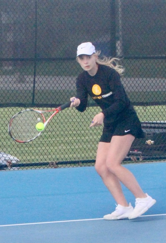 Crawfordsville senior Lauren Hale helped the Athenians defeat North Montgomery with a win at No. 1 singles.