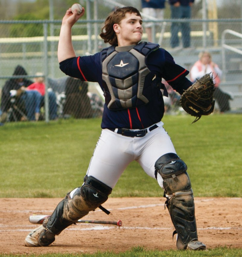 North Montgomery catcher Jacob Braun fires to a base at Southmont on Saturday.