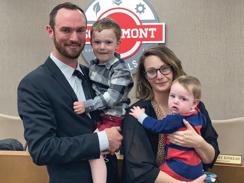 Newly-hired Southmont High School assistant principal Kyle Owens with his wife, Samantha, and their sons, Jack, left, 3, and Wes, 9 months.