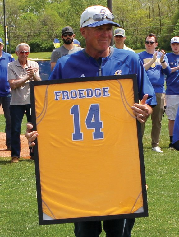 Crawfordsville athletics retired baseball No. 14 last Saturday in honor of hall of fame coach John Froedge.