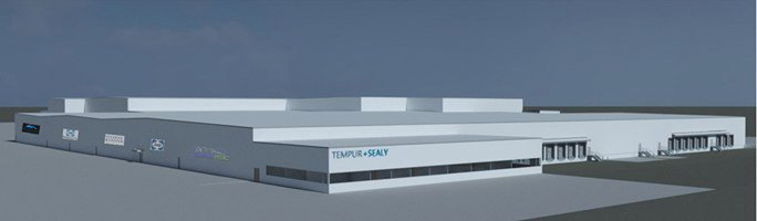 Rendered image of new Tempur Sealy Foam-Pouring Plant in Crawfordsville.