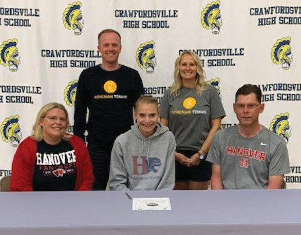 Crawfordsville senior Lauren Hale celebrated her commitment this spring to attend Hanover College, where she will continue her tennis career. PICTURED: Crawfordsville tennis coaches Jeff and Stephanie Strickland, and Lauren Hale with parents Angie and Marcus.