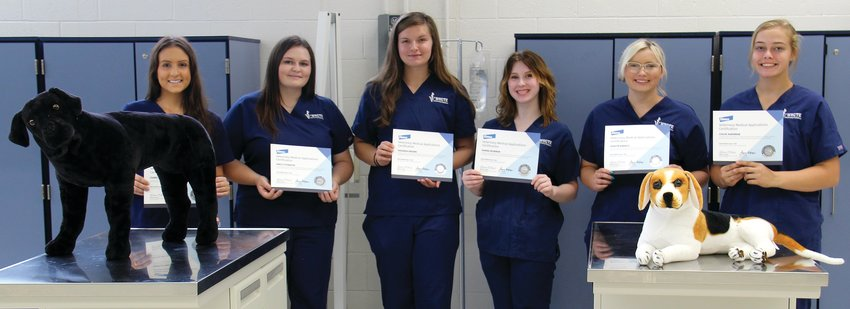 Earning the veterinary science certification, are, from left, Isabelle Holtkamp, Emily Fitzwater, Davanda Brown, Hanna Beirman, Ashlyn Daniels and Chloe Hardman. Not pictured is Madison Myers.