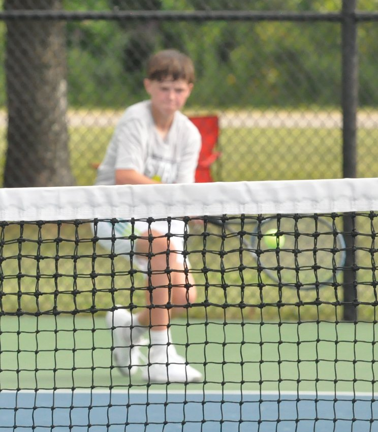 Fountain Central freshman Skyler Hoagland picked up a key win for the Mustangs at No. 1 singles against Crawfordsville's James Murphy.