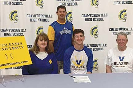 Crawfordsville's Caleb Coons will continue his baseball career at Vincennes University.