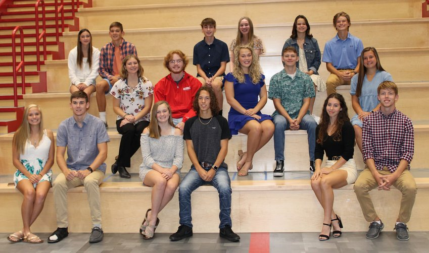 Photo Provided  Members of the Southmont High School Homecoming Court members are, front row, senior queen candidate Tiffany Dittmer, senior king candidate Logan Oppy, senior queen candidate Chaney Scott, senior king candidate Logan Phillips, senior queen candidate Brianna Heininger and senior king candidate Trent Jones; and second row,  senior queen candidate Adriana Smith, senior king candidate Van Powers, senior queen candidate Frances Shaw, senior king candidate Eyan Endicott and senior queen candidate Madison Chadwick. Not pictured is senior king candidate Gerald Hutson. In the third row, are freshman court members Caeleigh Reinken and Lucas Oppy, sophomore court members Jacob Fox and Jessica Bradley and junior court members Sami Mooday and Luke Tesmer. The Homecoming game will be at 7 p.m. Friday against Crawfordsville. Beginning at 4:30 p.m. there will be a tailgate and concert to celebrate Southmont's 50th year. All former staff/faculty members and alumni are encouraged to attend a fun pre-game set of activities and a chance to reminisce with old friends and teachers/staff.