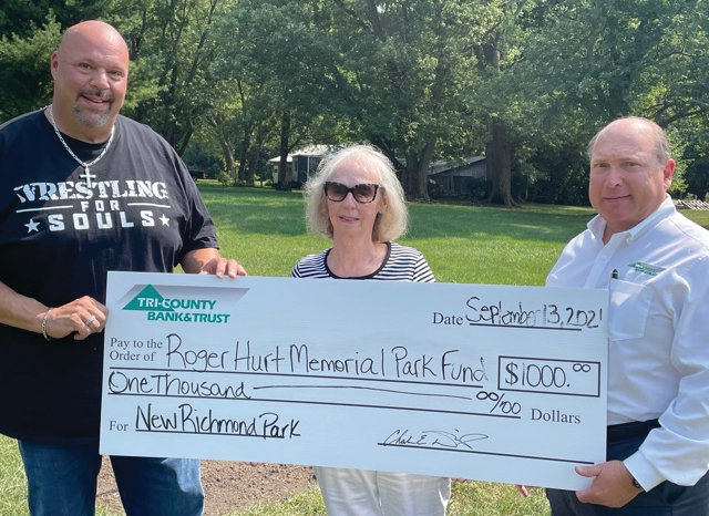 The Town of New Richmond is creating Hurt Memorial Park in honor of Roger Hurt who was a long-time resident of New Richmond. Prior to his passing in 2003, Hurt donated property (on Osage Street) to the town for the current and future children of New Richmond. On Oct. 5, a flagpole is scheduled to be installed. The next project will be a memorial plaque honoring Hurt. Future plans are for picnic tables, benches, gazebo, and updated playground equipment for the children. Total costs are expected to be in excess of $10,000. Donations may be made to the Town of New Richmond and earmarked for Hurt Memorial Park. For more information, contact Councilman Carmine Azzato at cazzato77@gmail.com or contact the Town Hall at 765-339-4507. Pictured, from left, are Carmine Azzato, Eileen Matricia (sister of Roger Hurt) and Steve McLaughlin (vice president/economic development officer of Tri-County Bank)..