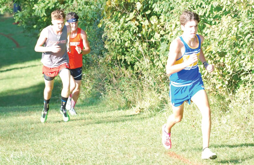 Crawfordsville's Ryann Miller, North Montgomery's Elijah McCartney, and Southmont's Mason Cass led the pack on Thursday night, before Cass pulled away for the county win.