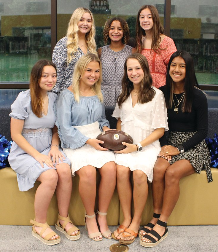 Crawfordsville High School 2021 Homecoming queen candidates and attendants are, from left, front row, senior queen candidates, Danna Schu, Lilly Klingbeil, Reese Minnette and Hannia Hernández; and back row, junior attendant Maggie Latona, freshman attendant Caedence Brown and sophomore attendant Emily Powell. The queen will be crowned today during halftime of the football game.