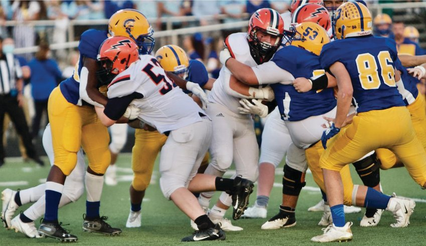 North Montgomery's Austin Sulc looks for running room at Crawfordsville on Friday night. The sophomore had 104 rushing yards and a touchdown in a 26-0 win.