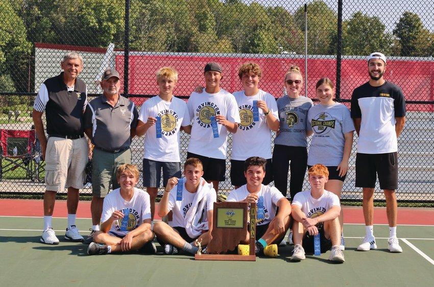 Covington tennis team celebrates their semi-state championship Saturday at Center Grove.
