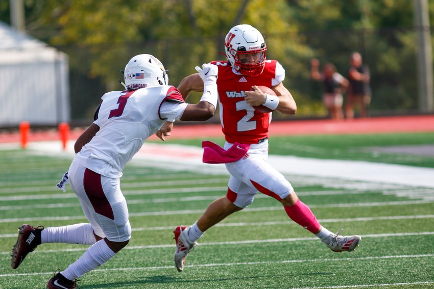 Quarterback Liam Thompson shows off his running ability vs Oberlin on Oct. 9