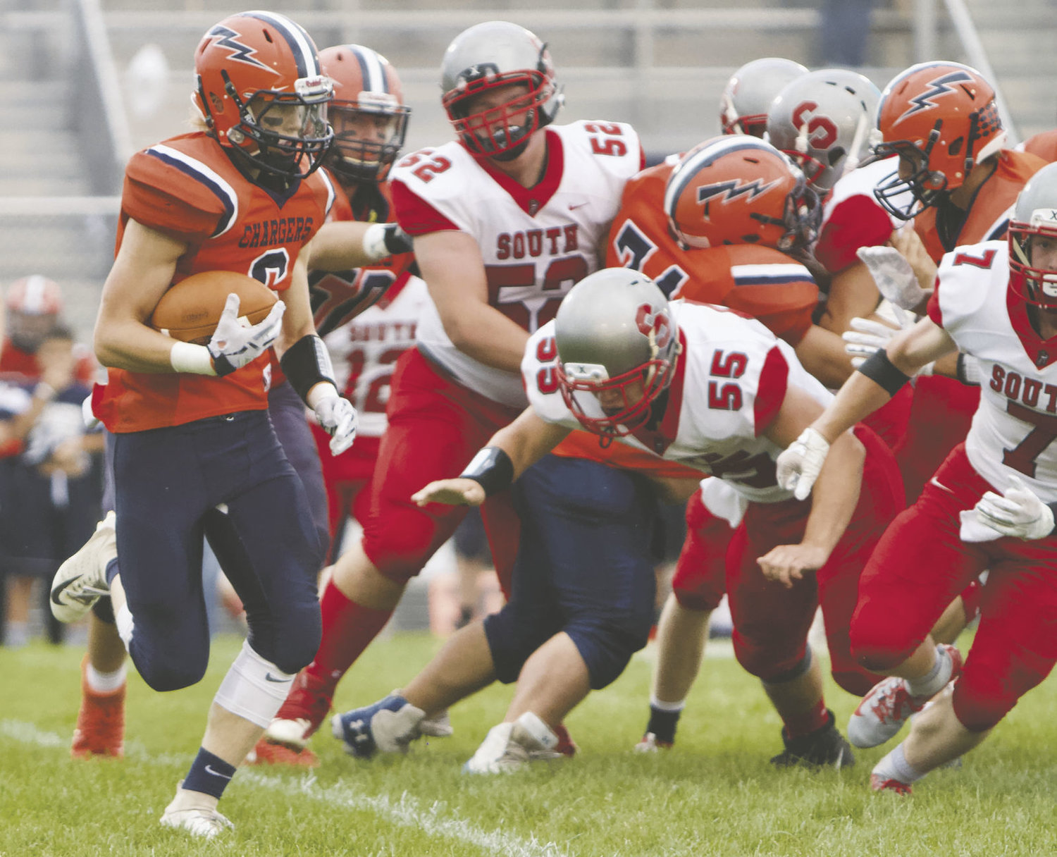 North Montgomery's Zach Waldon runs against Southmont last week.