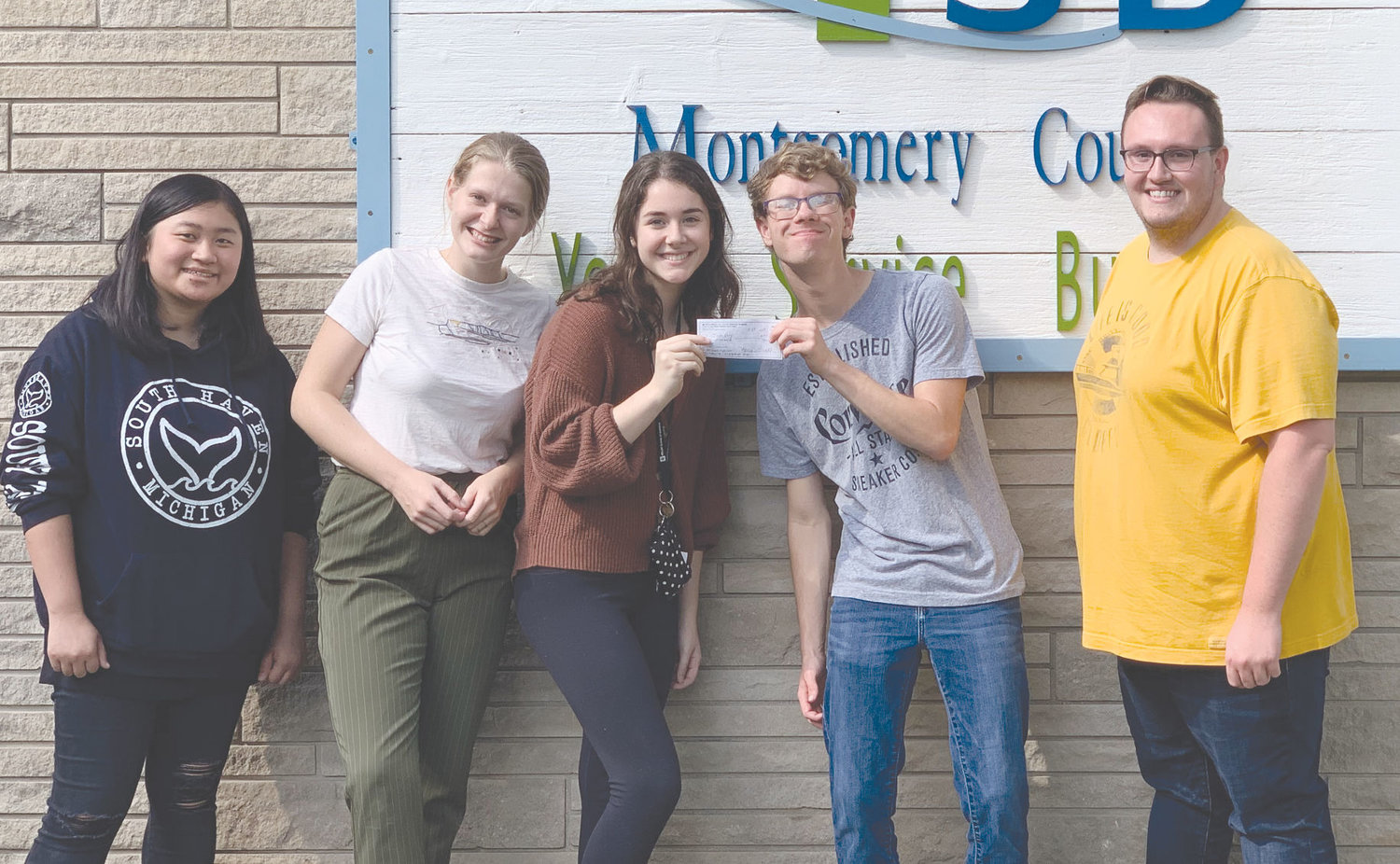 Pictured, from left, are Sully Caldwell, Faith Galbert, Delaney Gobel, Sam Doty and Cameron Cole, a Youth Service Bureau staff member.