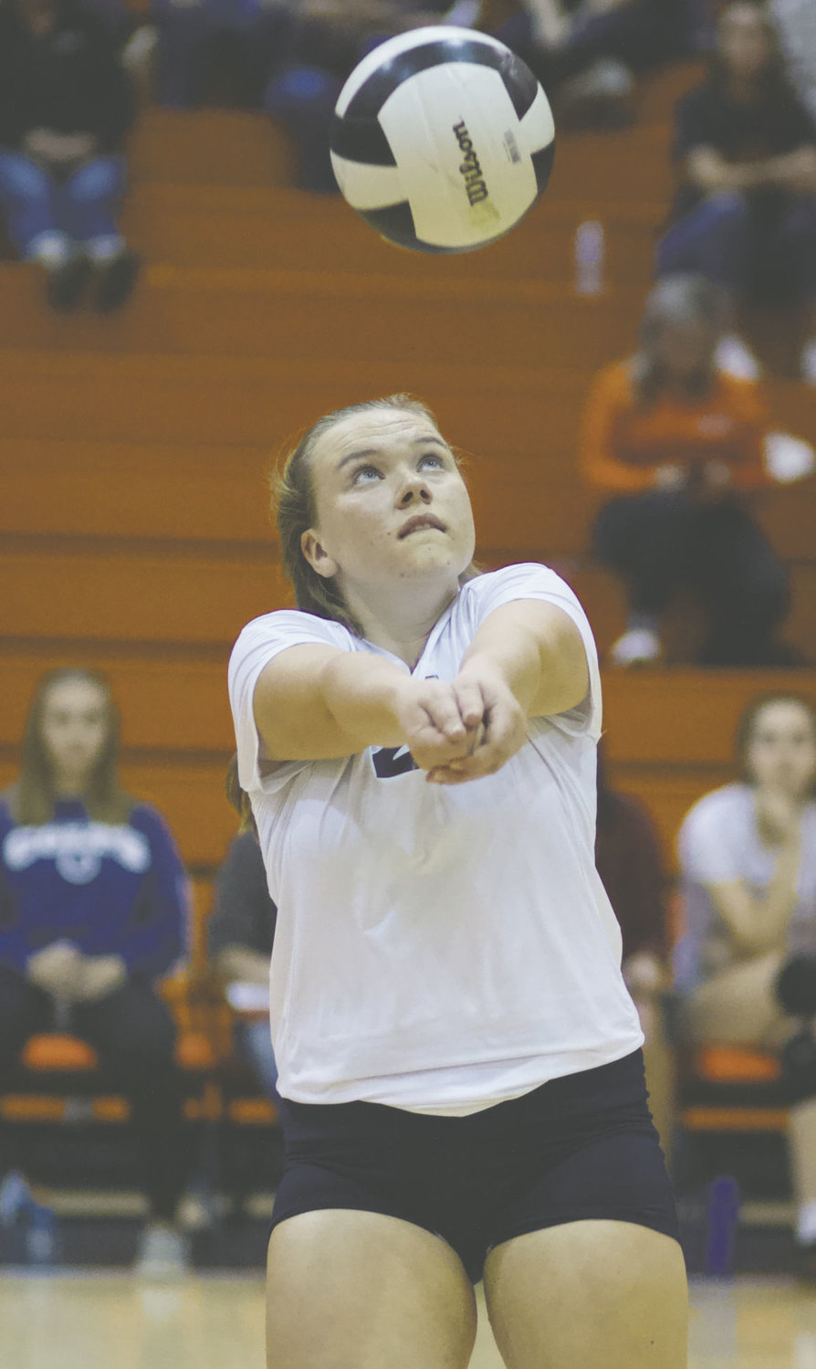 North Montgomery's Gracie Chapman keeps her eyes on the ball in the Charger's loss to Southmont on Tuesday.