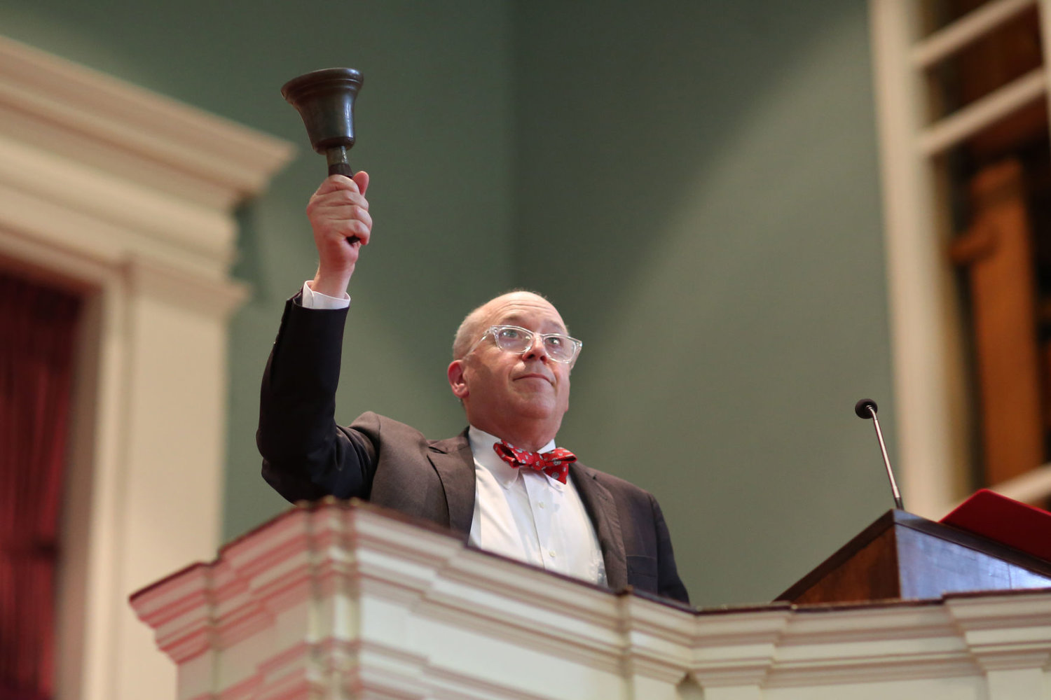 "Wabash College President Gregory D. Hess ""rings in"" the 235 young men in the Class of 2023 on Saturday in the Pioneer Chapel."