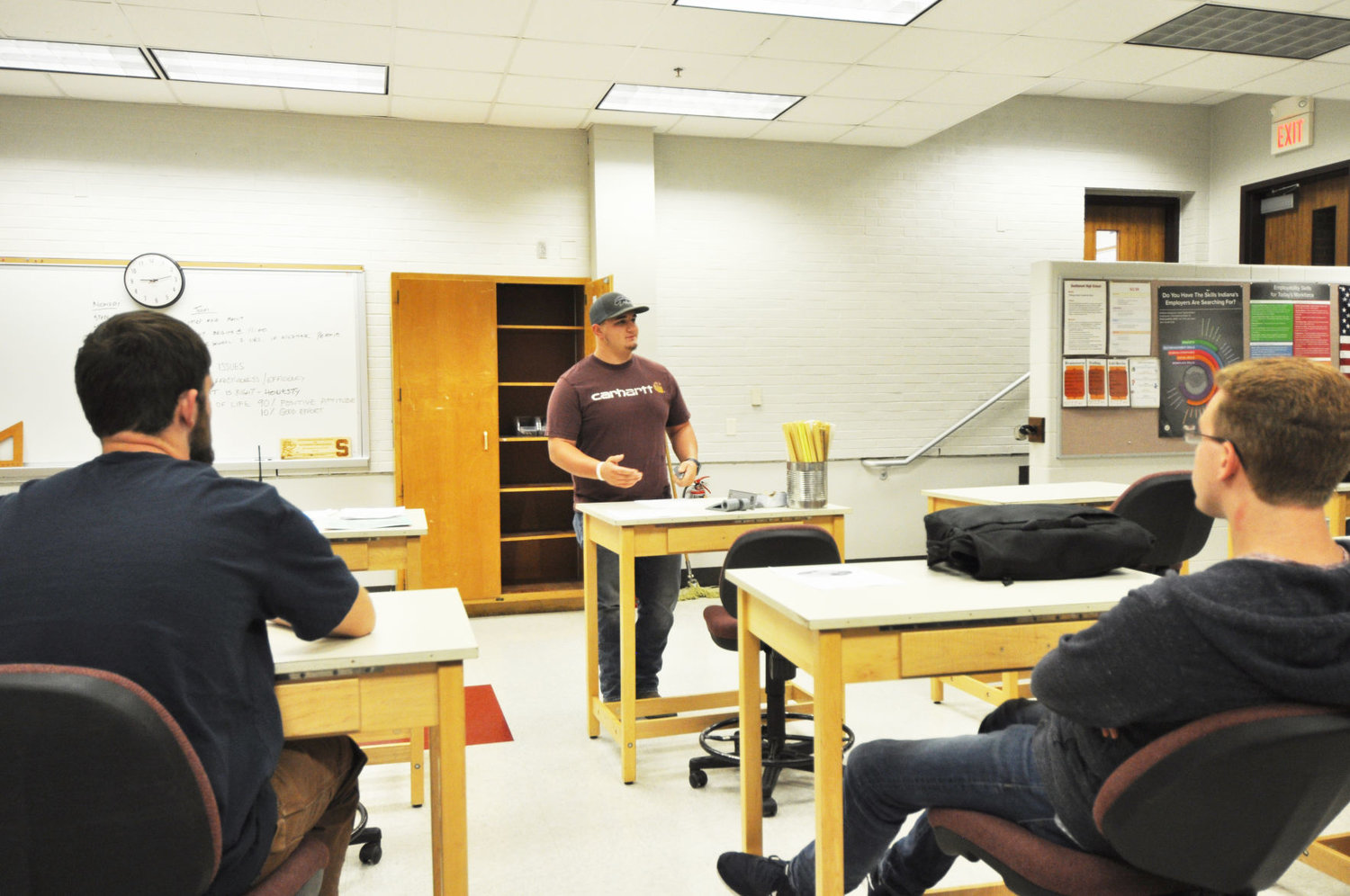 Elijah Sparks speaks to the West Central Indiana Career and Technical Education Cooperative's advanced manufacturing class Friday at Southmont High School. Sparks is training to become an electrician at Nucor Steel's technical academy.