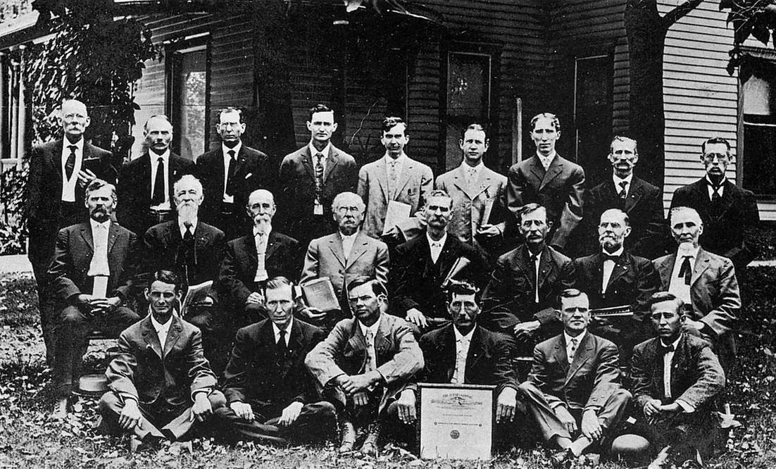 A men's Bible class gathers in front of Hillsboro Christian Church in a photo taken in 1914. The church is closing after its final service Oct. 27.