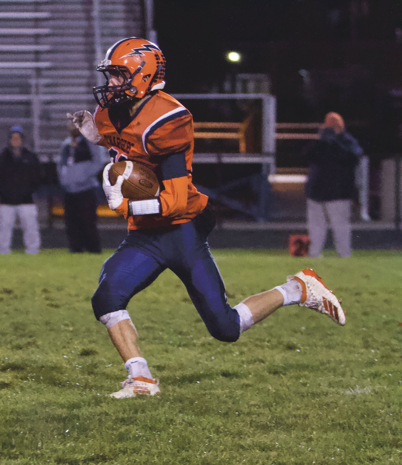 North Montgomery's Kade Kobel caught six passes for 73 yards in the Chargers 49-12 loss.