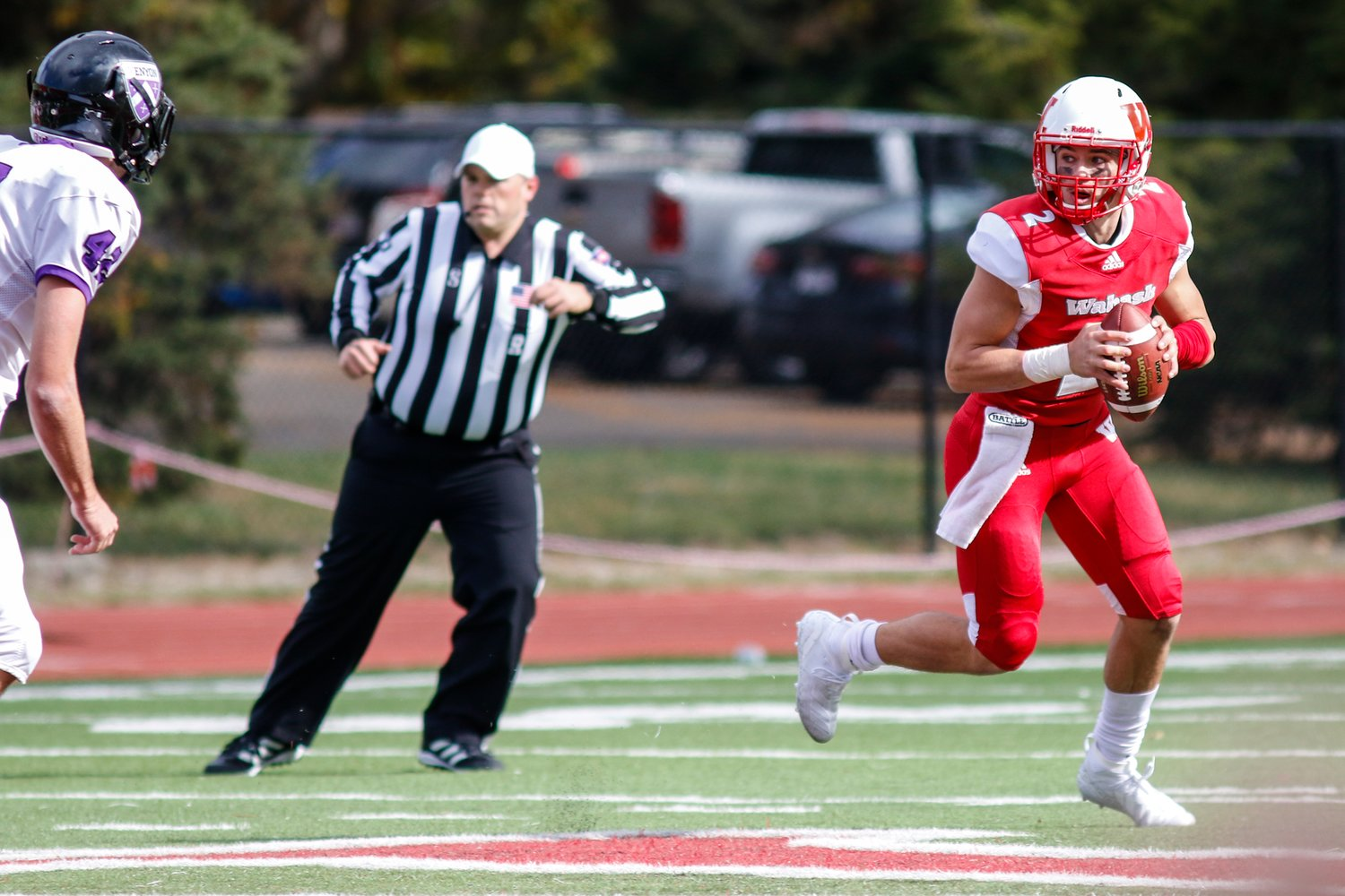 Wabash QB Liam Thompson looks downfield for an open receiver.