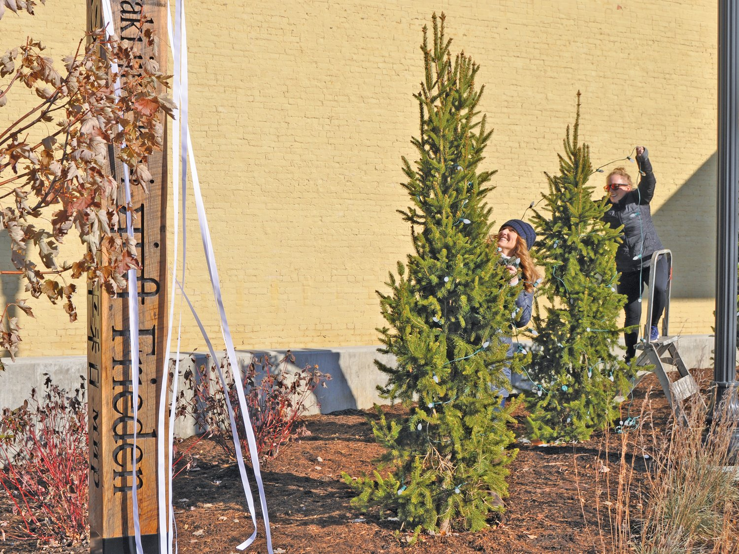 Kim Clark, front, and Lindsey Hamilton hang Christmas lights on trees Friday at Pike Place. Crawfordsville Main Street decorates downtown public places for the holiday season. A Montgomery County Community Foundation grant funded the Pike Place decorations. Volunteers interested in joining the decorating crew should contact Main Street.
