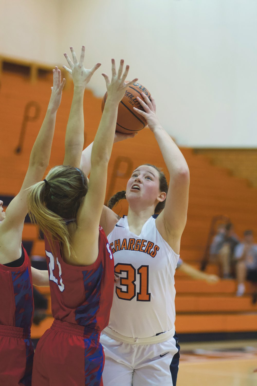 Katie Rice battles inside for North Montgomery.
