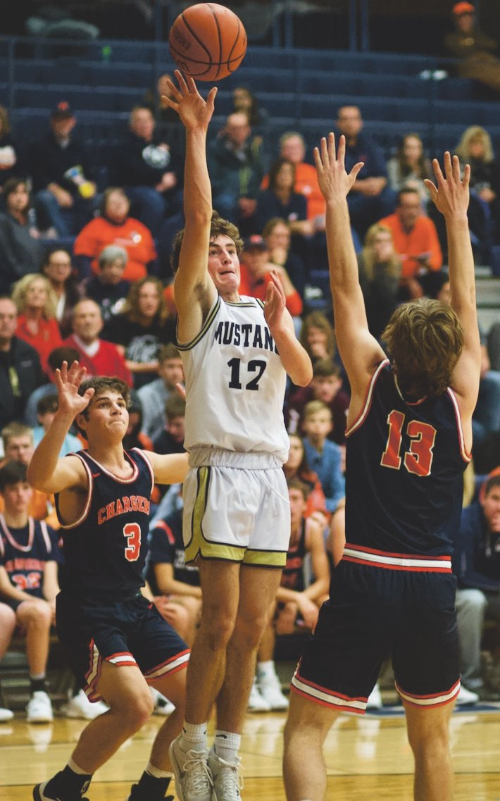 Carson Eberly paced the Mustangs with 11 points in their 61-40 loss to North Montgomery.