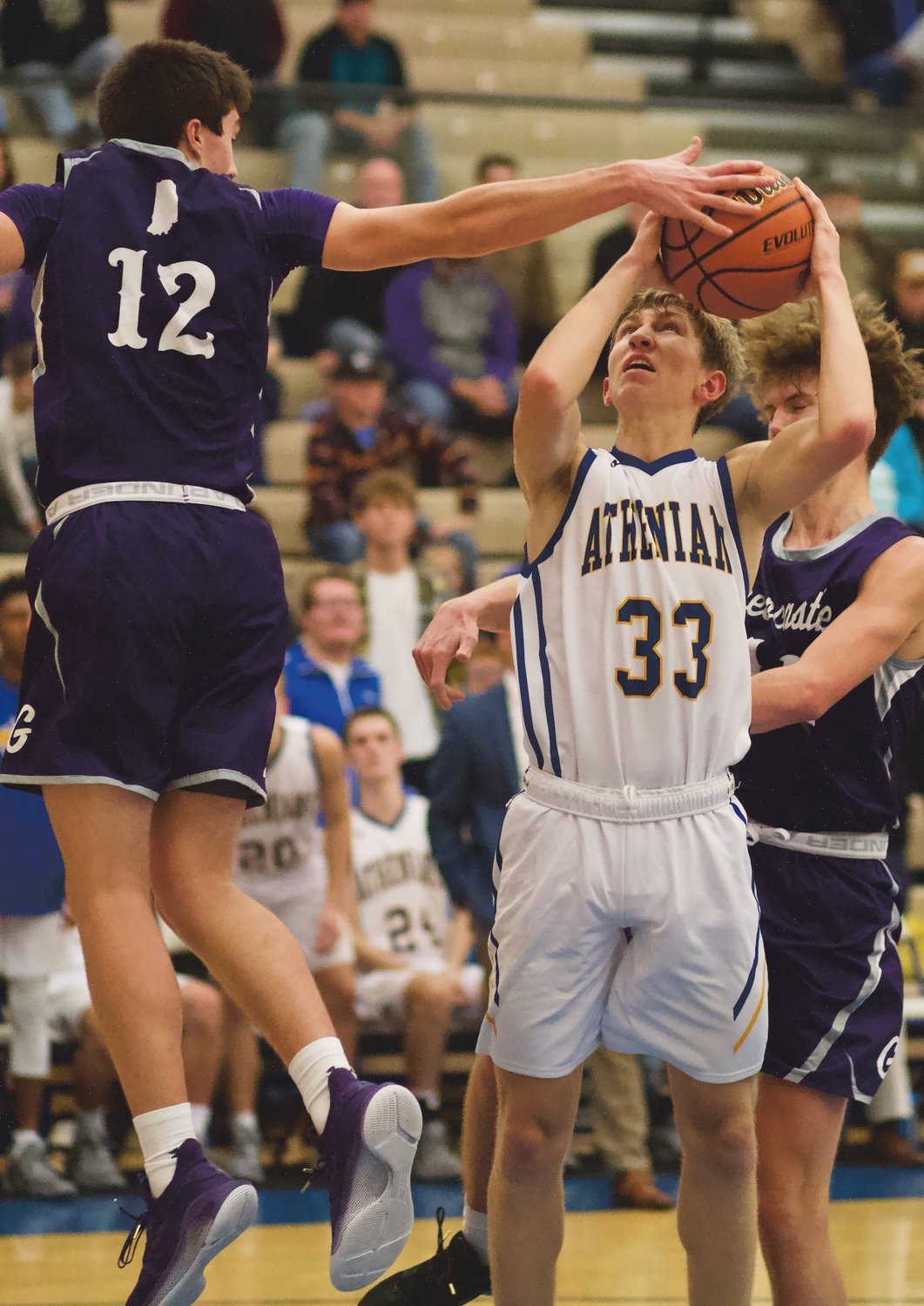 Crawfordsville's Ian Hensley tries to work past Greencastle's Brody Whitaker in a game earlier this season.