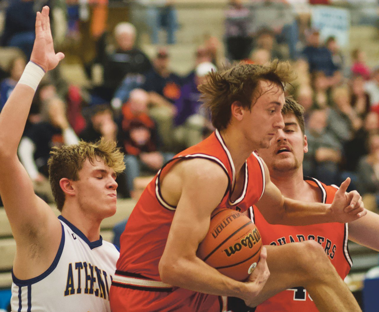 Crawfordsville's Nate Schroeter defends North Montgomery's Kade Kobel in a game earlier this season.