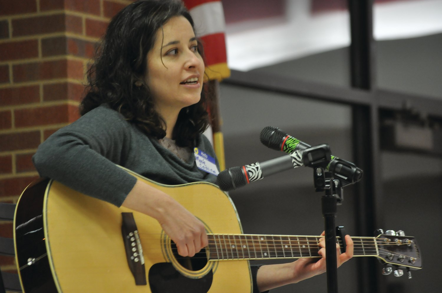 Maria Cristina Monsalve performs during Humans United for Equality's 2019 Martin Luther King Jr. Day celebration at Crawfordsville High School.
