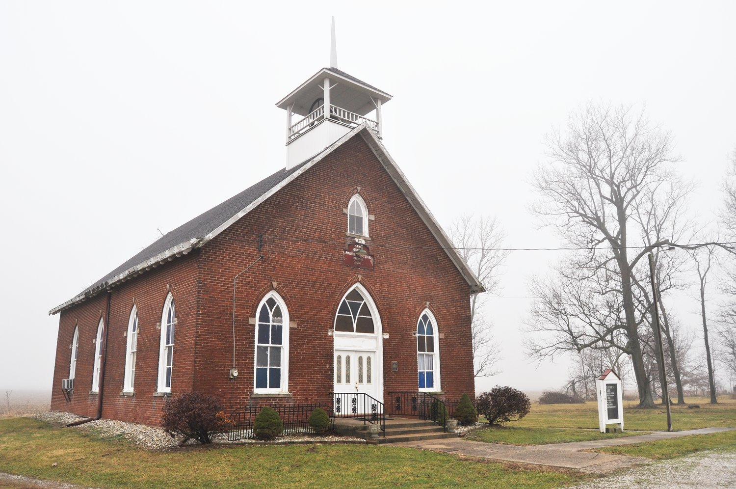 Osborn Prairie Christian Church, which was built near Stone Bluff in 1892, is in need of repairs after a basement wall collapsed in a rainstorm. The building's board of trustees is searching for a contractor.