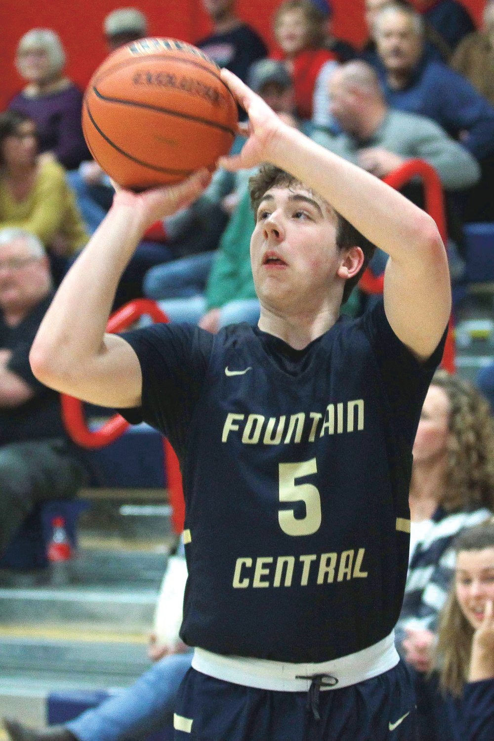 Andrew Shabi of Fountain Central hits one of his 3-pointers in the first period during a loss to Seeger earlier this season...