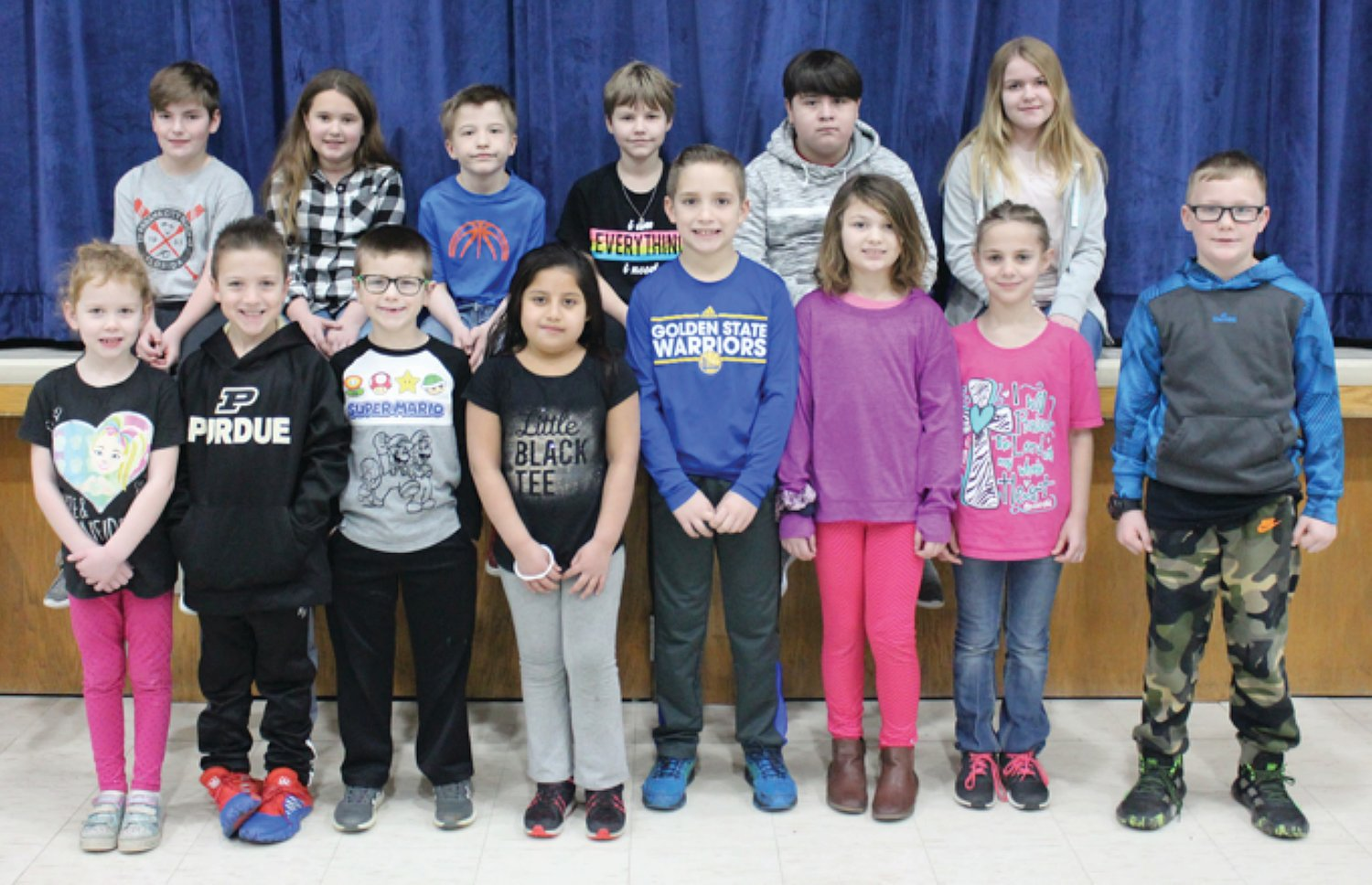 Southeast Fountain Elementary Students of the Month for December 2019 are, from left, Ava Ogle, Ty Ashwill, Douglas Webb, Dania Payes Jimenez, Drew Foxworthy, Kadence LaGue, Zoe Wildman and Austin Blankenship; and back row, Pepper Thompson, Annibella Mathews, Jeramiah Morris, Jolee Snelling, Angelo Viveros and Morgan Lewis.