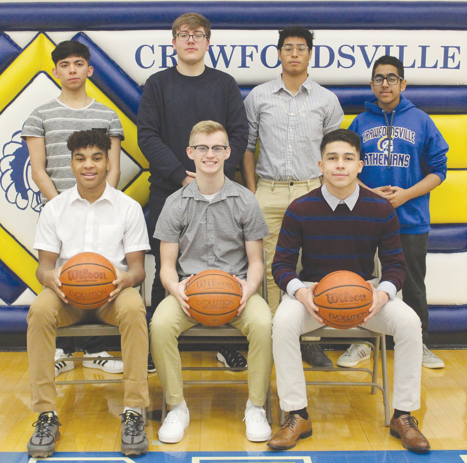 The 2020 Crawfordsville High School Snowcoming King candidates and attendants are pictured, from left, front row, freshman attendant Mikale Willis, junior attendant Andrew Martin, and sophomore attendant Edwin Gil Herrera; and back row, senior king candidates, Jesus Trevi