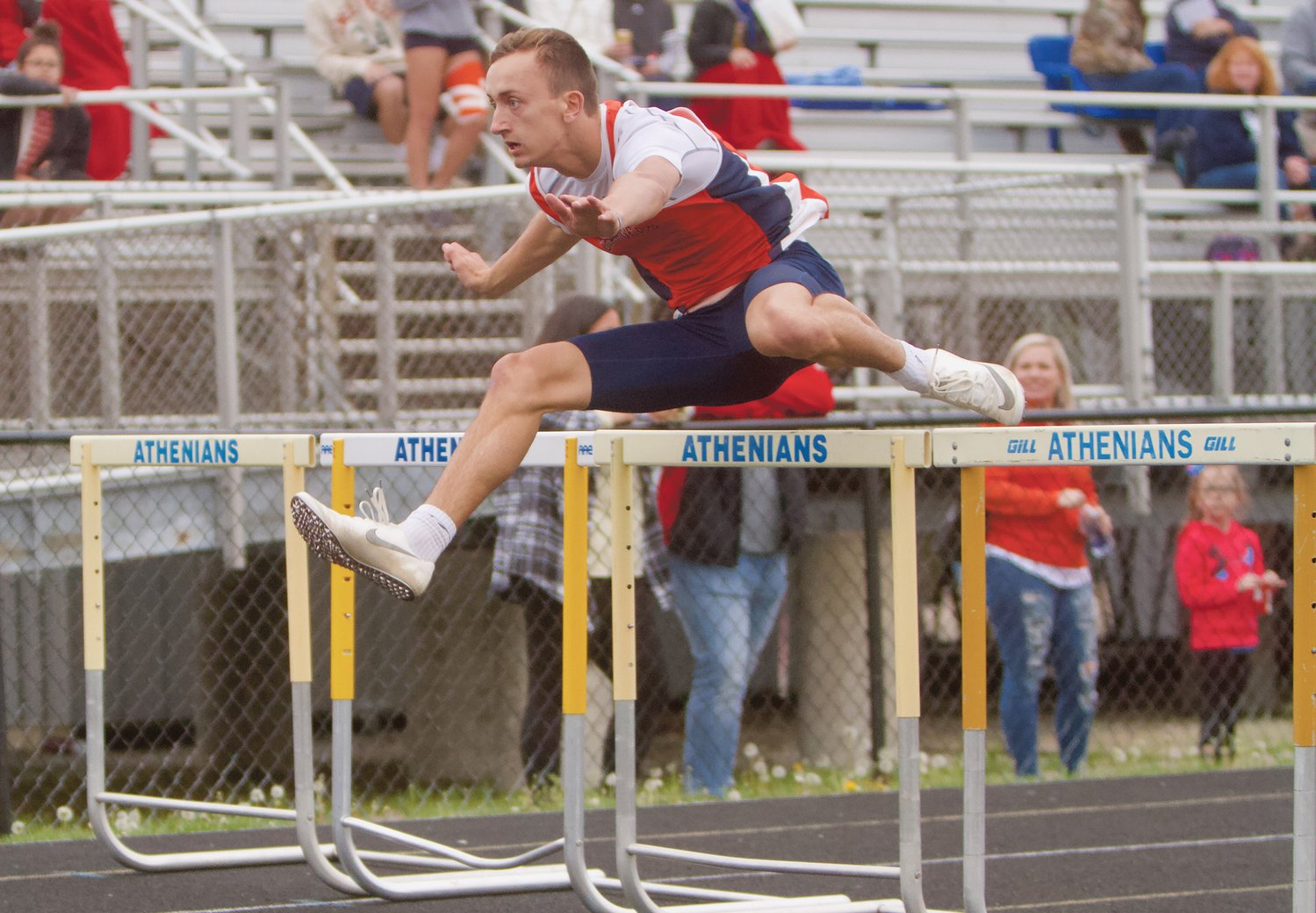 North Montgomery's Kade Kobel is the program record holder in both the 110 and 300 hurdles.