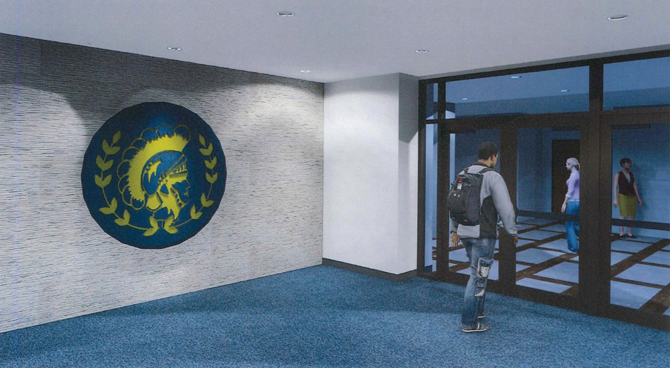 A rendition of a new entryway at Crawfordsville High School depicts students flowing through multiple levels of locked doors which will be controlled during school hours by adjacent office staff.