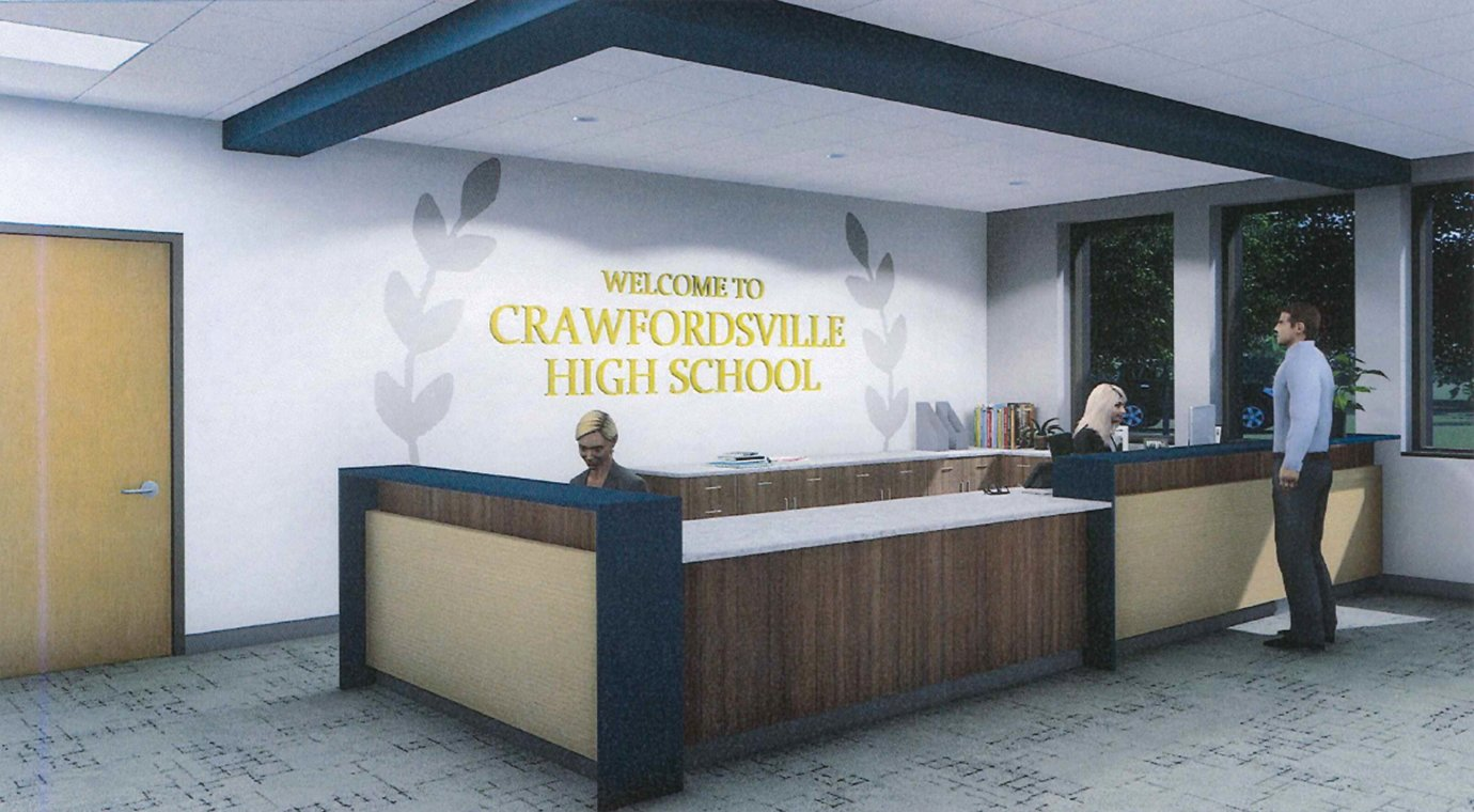 The front office at Crawfordsville High School will be moved from its current location to the new entrance at the southern side of the classroom section, as seen here through a rendition provided by the district.