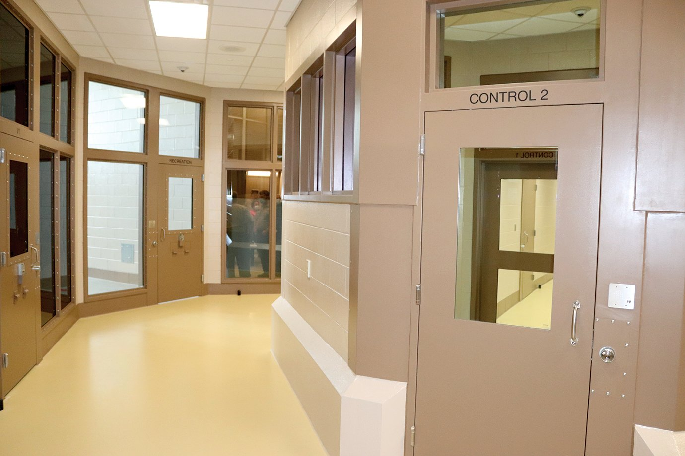 A secured control center sits in the middle of the cell block wing of the new Fountain County Jail. From there, jail staff can operate any door in the wing electronically while maintaining visual contact at all times.