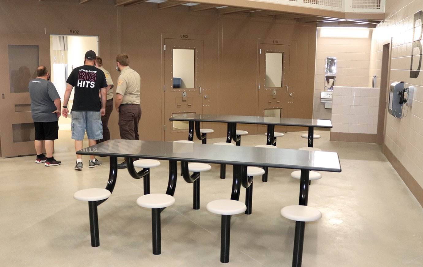 Inmates with extended stays at the newly built Fountain County Jail in Veedersburg will have digital visitation capabilities, dining areas, restroom facilities and telephone services just outside their cells. A total of eight cells capable of holding two inmates are featured in B-Block.
